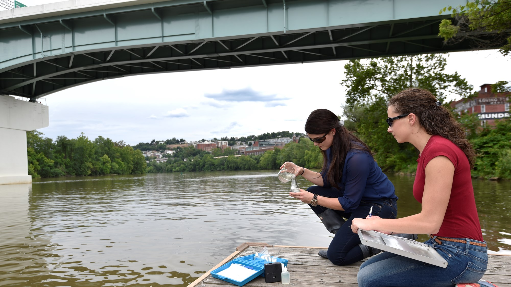 Students testing water quality